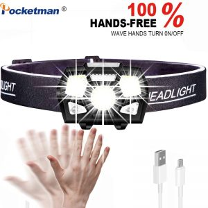 POCKETMAN 7000 Lumen LED Headlamp Motion Sensor Ultra Bright Hard Hat Head Lamp Powerful Headlight USB Rechargeable Waterproof Flashlight 5Modes