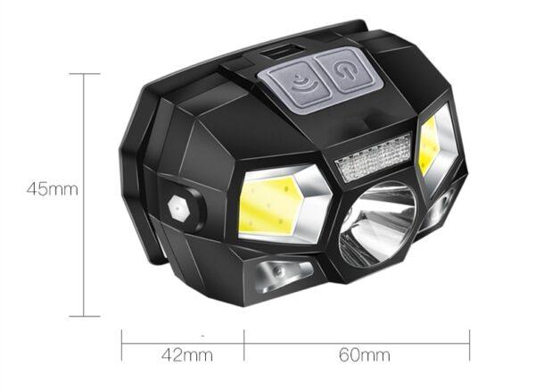 POCKETMAN 7000 Lumen LED Headlamp Motion Sensor Ultra Bright Hard Hat Head Lamp Powerful Headlight USB Rechargeable Waterproof Flashlight 5Modes