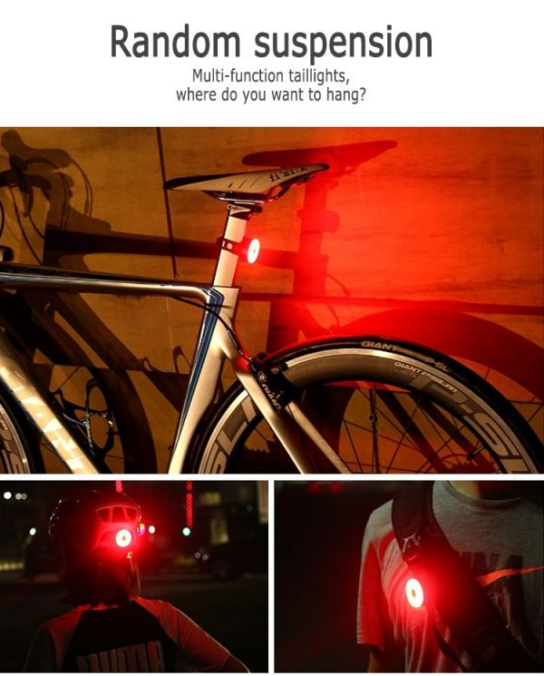 LED USB Rechargeable Waterproof Bicycle Rear Light, IPX8,Helmet Light With 5 Modes Bicycle Tail Light