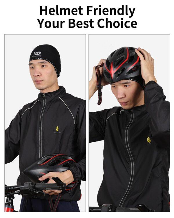 WEST BIKING Winter Sport Skull Cap Windproof Thermal Cycling Helmet Hat Ski Bike Motorcycle Headwear with Earphone Holes