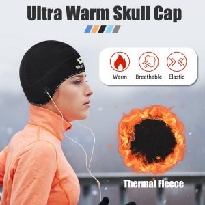 WEST BIKING Winter Sport Skull Cap Windproof Thermal Cycling Helmet Hat Ski Bike Motorcycle Headwear with Earphone Holes