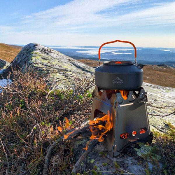 Widesea Camping Wood Stove Portable Titanium Burner Backpack Lightweight FoldingWood Burning Stove