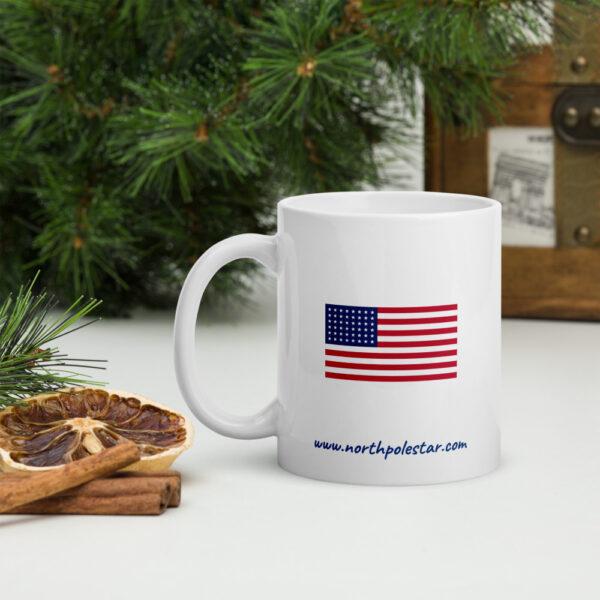 North Pole Star American Flag Mug Camp Mug - 11oz. & 15oz. Ceramic Coffee Cup Dishwasher & Microwave Safe