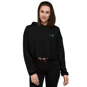 North Pole Star Crop Hoodie Made in USA Long Sleeve Crop Active Top Sweatshirt Hooded Pullover for Women Girl Fashion Black