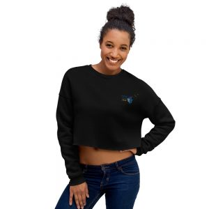 North Pole Star Crop Sweatshirt Made in USA Long Sleeve Crop Active Top Sweatshirt for Women Girl Fashion - Black