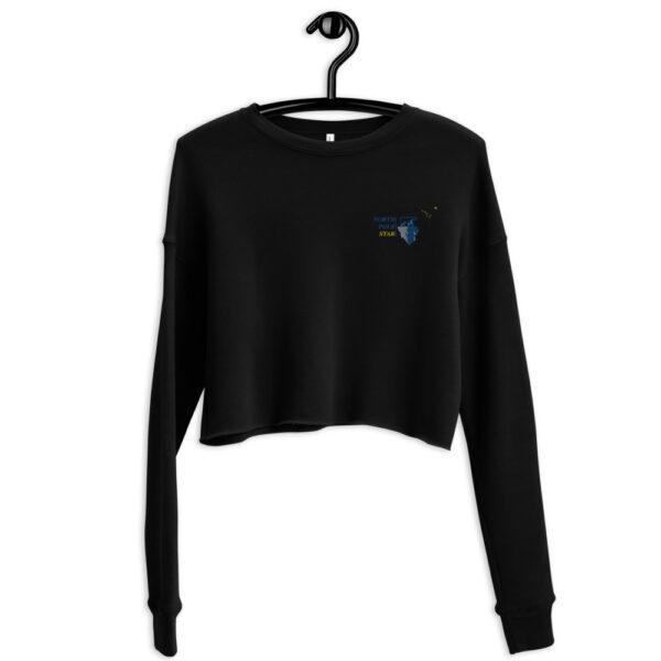 North Pole Star Crop Sweatshirt Made in USA Long Sleeve Crop Active Top Sweatshirt for Women Girl Fashion - Black