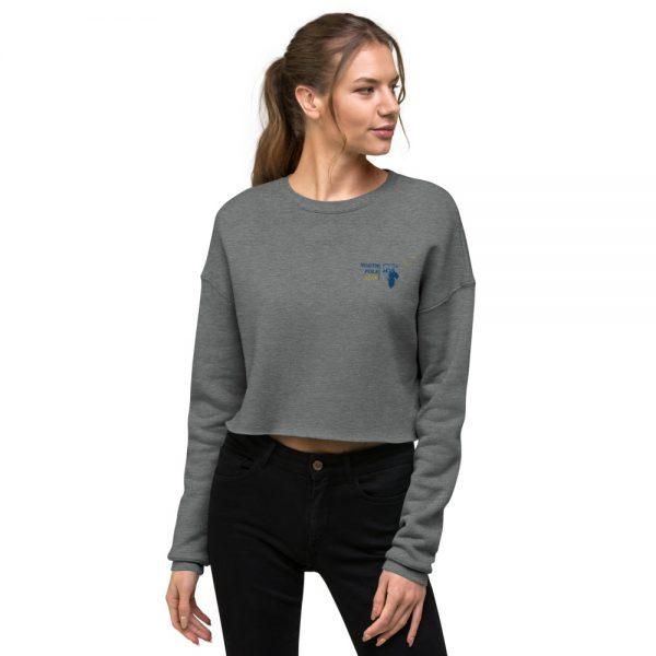 North Pole Star Crop Sweatshirt Made in USA Long Sleeve Crop Active Top Sweatshirt for Women Girl Fashion - Gray