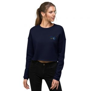 North Pole Star Crop Sweatshirt Made in USA Long Sleeve Crop Active Top Sweatshirt for Women Girl Fashion - Navy