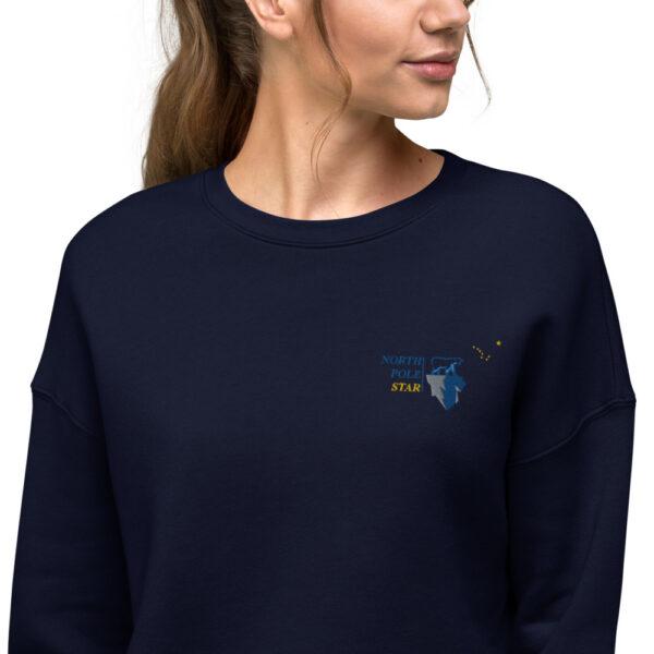 North Pole Star Crop Sweatshirt Made in USA Long Sleeve Crop Active Top Sweatshirt for Women Girl Fashion - Navy