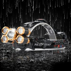 5 LED T6 Head Lamp 8000 Lumens Waterproof Flashlight with Adjustable Focus, Zoomable LED Headlamp, Sensor