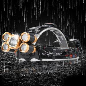 5 LED T6 Head Lamp 8000 Lumens Waterproof Flashlight with Adjustable Focus, Zoomable LED Headlamp, Sensor