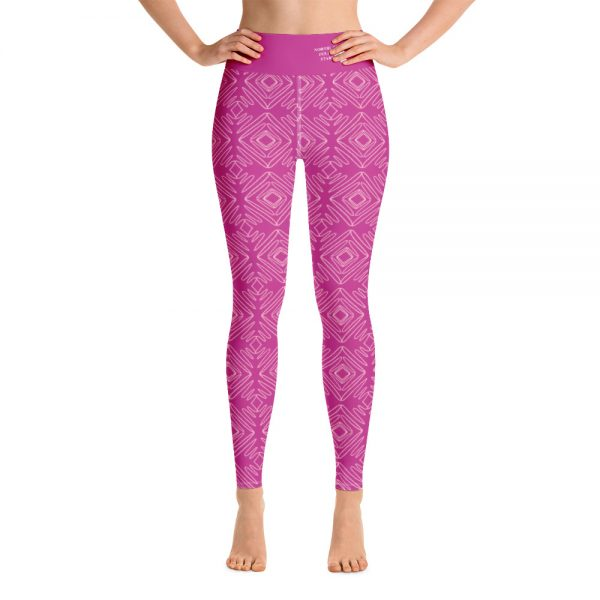 North Pole Star Pink Yoga Leggings with Pockets WDC20060 Women's High Waisted Yoga Pants Workout Sports Running Athletic 4 Way Stretch Pants