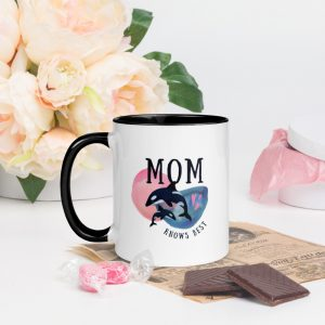 "North Pole Star ""Mom Knows Best"" Mug with Color Inside - 11oz. Ceramic Coffee Cup Dishwasher & Microwave Safe"