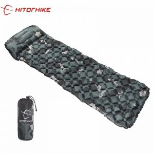 Hitorhike Innovative Backpacking Sleeping Pad For Hiking, Traveling - Fast Filling Camping Mat, Air Mattress, Inflatable Mattress With Pillow, Ultralight Folding Bed, Travel Sleeping Mat, Life Rescue 550G Cushion Pad