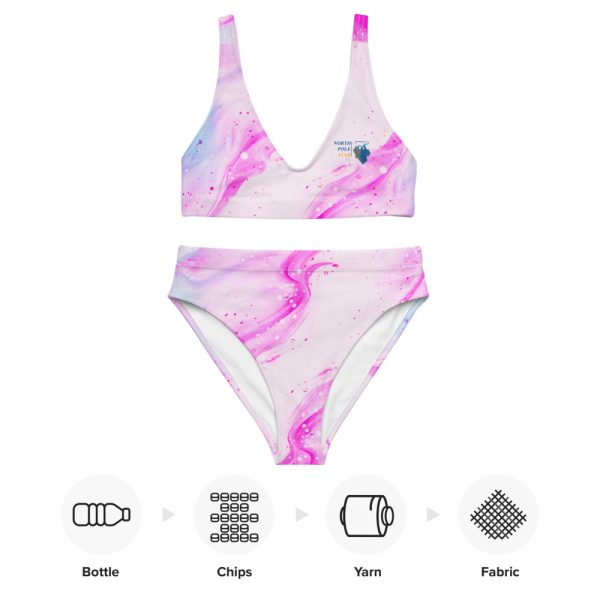 North Pole Star Recycled High-Waisted Bikini HI96709, Eco-friendly, Pink Swimwear, Trendy Bathing Suit, Sustainable Women's Swimsuit, Fashion, Marine Biology Bikini Set, Two-Piece Swimsuits