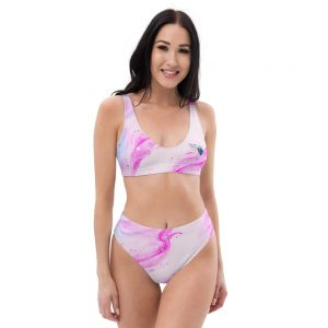 North Pole Star Recycled High-Waisted Bikini HI96709, Eco-friendly, Pink Swimwear, Trendy Bathing Suit, Sustainable Women's Swimsuit, Fashion, Marine Biology Bikini Set, Two-Piece Swimsuits