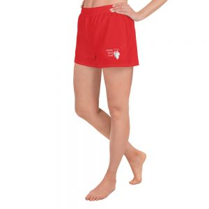 North Pole Star Women's Athletic Short - Red Color Women's Running Short Workout Fitness Mesh Side Pockets Comfy Gym Sports Shorts