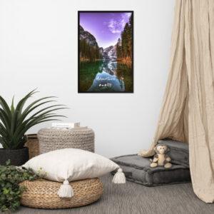 North Pole Star Adventure Awaits Wall Art Lake Landscape Framed Poster Art Print Artwork Decoration for Cabin, Home, Living Room, Bedroom