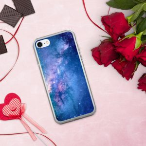 Galaxy Nebula Design for Apple iPhone CaseSlim Hybrid Shockproof Flexible TPU, BPA Free Full Soft Skin CoverProtective Durable Case- Purple Nebula
