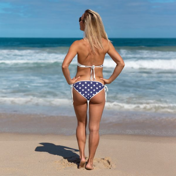North Pole Star American Flag Swimwear, Women Tie Side Bottom Top Triangle Bikini String Sexy Bathing Suit Two Piece Swimsuit