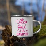 Queen of the Camper Enamel Mug Campfire Mug with Handle For Indoor & Outdoors pink