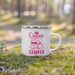 Queen of the Camper Enamel Mug Campfire Mug with Handle For Indoor & Outdoors pink2