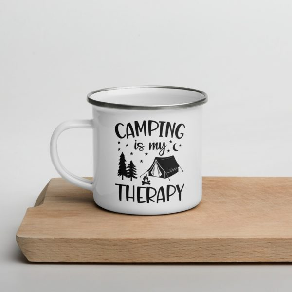 North Pole Star Enamel Mug ANP4660 12 oz Camping is My Therapy Mug Drinking Cups Campfire Mug with Handle For Indoor & Outdoors, Breakfast Wanderlust Travel Cup For The Happy Camper!