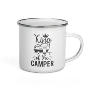 North Pole Star King of the Camper Enamel Mug 12 oz Drinking Cups Campfire Mug with Handle For Indoor & Outdoors, Breakfast Wanderlust Travel Cup For The Happy Camper!